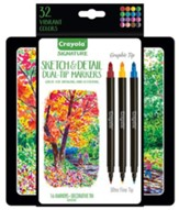 Crayola, Sketch & Detail Dual-Ended Markers with Tin, 16 Pieces