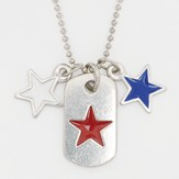 Tag with Red White and Blue Stars Necklace