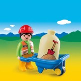Playmobil Worker With Wheelbarrow Accessory