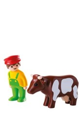 PlayMobil Farmer with Cow