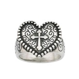Heart Cross Ring, Large