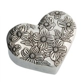Heart Shaped Pewter Trinket Box, Dogwood Design