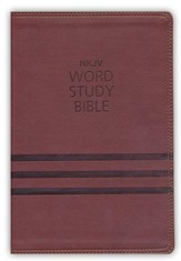 NKJV Word Study Bible, Imitation Leather, Brown - Slightly Imperfect