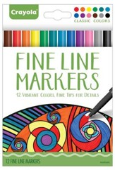 Fine Line Markers, Classic Colors, Pack of 12