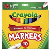 Crayola, Broad Line Markers, Classic, 10 Pieces