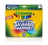 Crayola, Broad Line Washable Markers, Assorted, 12 Pieces