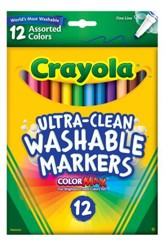 Crayola, Fine Line Washable Markers, Assorted, 12 Pieces