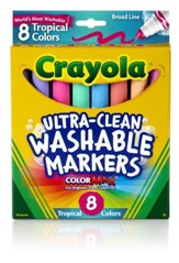 Crayola, Broad Line Washable Markers, Tropical, 8 Pieces