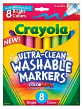 Crayola, Broad Line Washable Markers, Bright, 8 Pieces