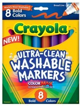 Crayola, Broad Line Washable Markers, Bold, 8 Pieces