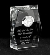 Personalized, May God Bless You, Mom Crystal Clock