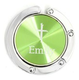 Personalized, Green Circle Purse Holder, With Cross