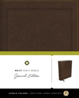 NKJV Holy Bible, Journal Edition, Bonded Leather, Brown - Slightly Imperfect