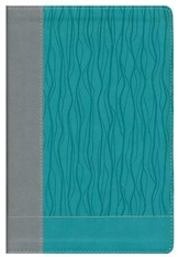 NIV Faithlife Study Bible: Intriguing Insights to Inform Your Faith--soft leather-look, gray/turquoise - Slightly Imperfect