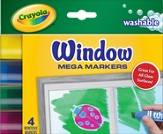 Crayola, Washable Window Mega Markers, 4 Pieces