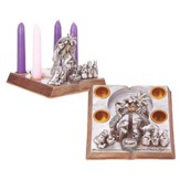 Nativity Open Book Advent Candle Holder