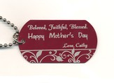 Personalized, Mother's Day Dog Tag, Red