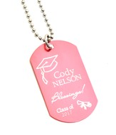 Personalized, Graduation Dog Tag, Pink