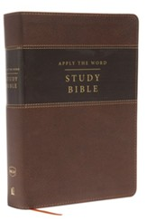 NKJV Apply the Word Study Bible, Large Print, Imitation Leather, Brown, Indexed, Red Letter Edition