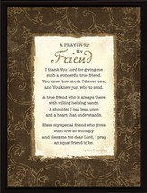 A Prayer for My Friend Plaque