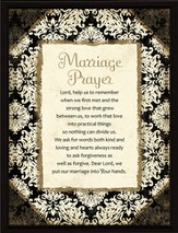 Marriage Prayer Plaque, Black Frame