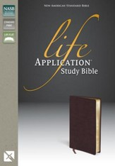 NAS Life Application Study Bible, Bonded leather, Burgundy  - Slightly Imperfect