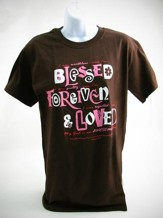 Blessed, Forgiven, Loved Shirt, Brown, Extra Large
