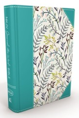 NKJV Journal the Word Bible, Hardcover, Blue Floral Cloth - Slightly Imperfect
