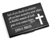 Personalized, Metal Business Card Holder, Faithful Stewards of God, Black