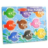 Colorful Fish Peg Puzzle, 9 Pieces