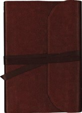 NKJV Journal the Word Bible, Large Print, Premium Leather, Brown, Red Letter Edition - Slightly Imperfect