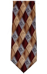 Praying Hands, Burgundy, Polyester Tie, Boxed