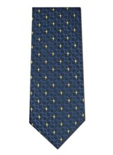 Fish & Cross, Blue, 2-ply Polyester Tie, Boxed