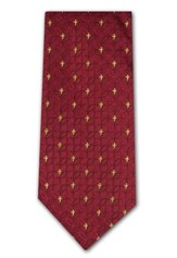 Fish & Cross, Red 2-ply Polyester Tie, Boxed