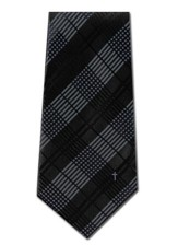 Plaid With Cross, Blue & Black, Polyester Tie