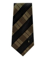 Plaid With Cross, Gold & Black Polyester Tie