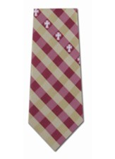 Cross With Check, Red & Gold, Polyester Tie