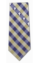 Cross With Check, Navy & Gold, Polyester Tie