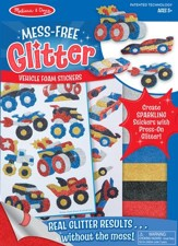 Vehicles, Mess Free Glitter Stickers