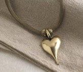 Rope Heart Necklace, Antique Gold