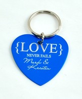 Personalized, Love Never Fails Heart Keychain, Blue