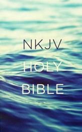 NKJV, Value Outreach Bible, Paperback, Blue Scenic - Slightly Imperfect