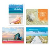 Coastal Scene Birthday Cards, Box of 12