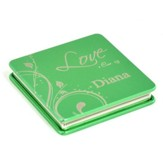 Personalized, Love Compact Mirror, Green
