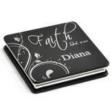 Personalized, Faith Compact Mirror, Black
