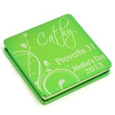 Personalized, Mother's Day Aluminum Compact Mirror,   Proverbs 31, Green