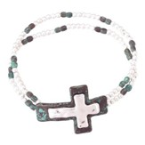 Double Beaded Cross Bracelet, White