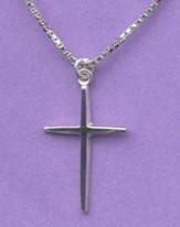 Rounded-Point Cross--Sterling Silver Pendant