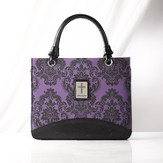 Paisley Purse Style Bible Cover with Cross, Purple, Medium