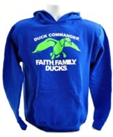 Faith, Family, Ducks, Hooded Sweatshirt, Blue and Green Youth Small